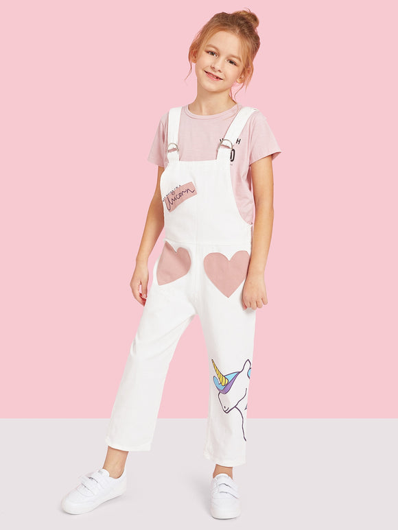Toddler Girls Unicorn Print Heart Pocket Jumpsuit - Truly Yours, Fashion