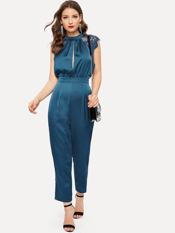 Lace Insert Slit Pleated Mock-neck Jumpsuit