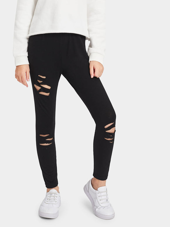 Elastic Waist Ripped Leggings - Truly Yours, Fashion