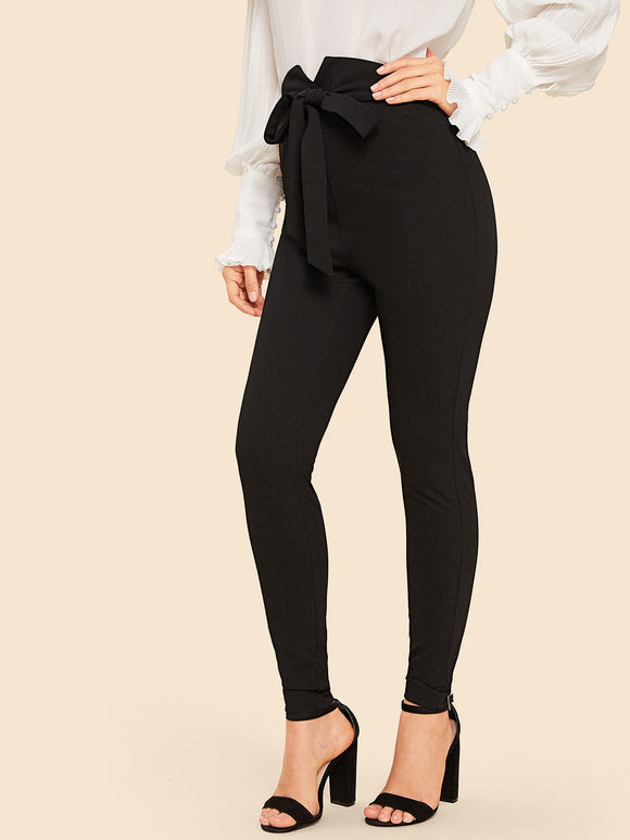 Notch Waist Belted Leggings - Truly Yours, Fashion
