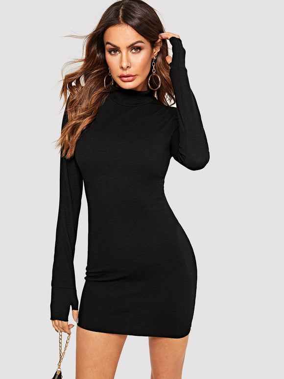 Solid Bodycon Dress With Thumb Hole - Truly Yours, Fashion