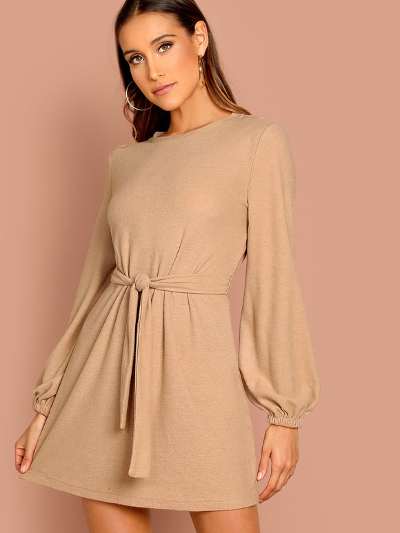 Knot Front Lantern Sleeve Solid Dress - Truly Yours, Fashion