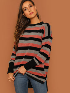 Drop Shoulder Dip Hem Striped Sweatshirt - Truly Yours, Fashion