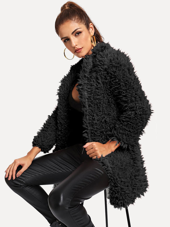 Open Front Solid Teddy Outerwear - Truly Yours, Fashion