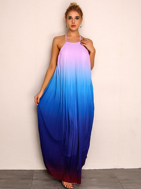 Open Back Ombre Halter Maxi Dress