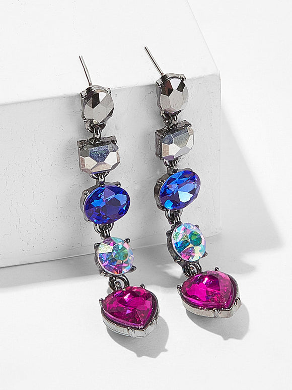 Geometric Rhinestone Drop Earrings 1pair - Truly Yours, Fashion