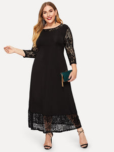 Plus Contrast Lace Solid Dress