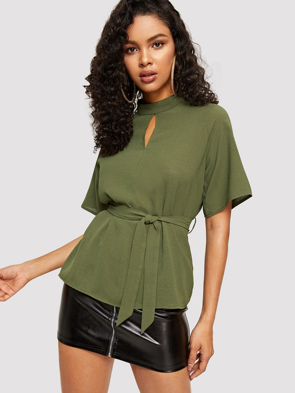 Cut Out Front Raglan Sleeve Belted Top - Truly Yours, Fashion