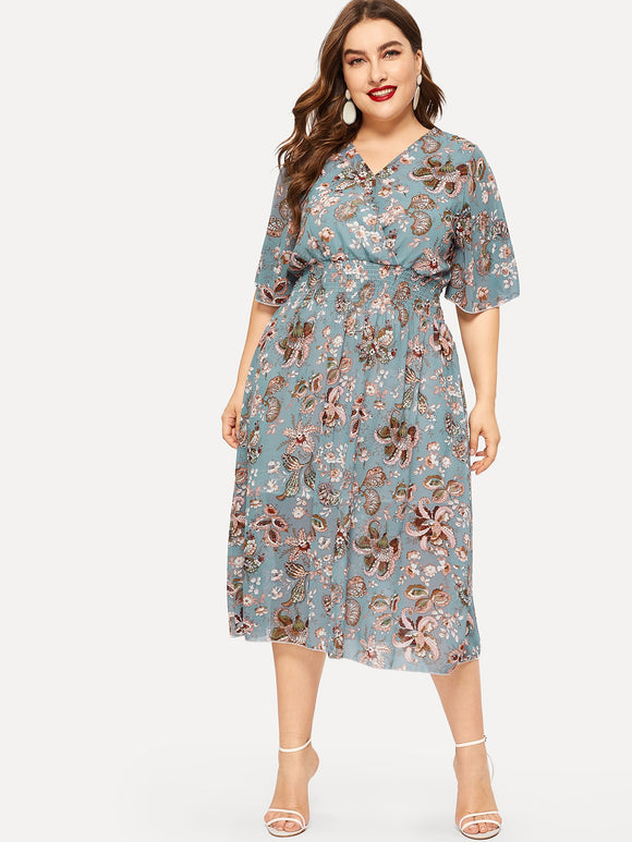 Plus Floral Print Elastic Waist Dress