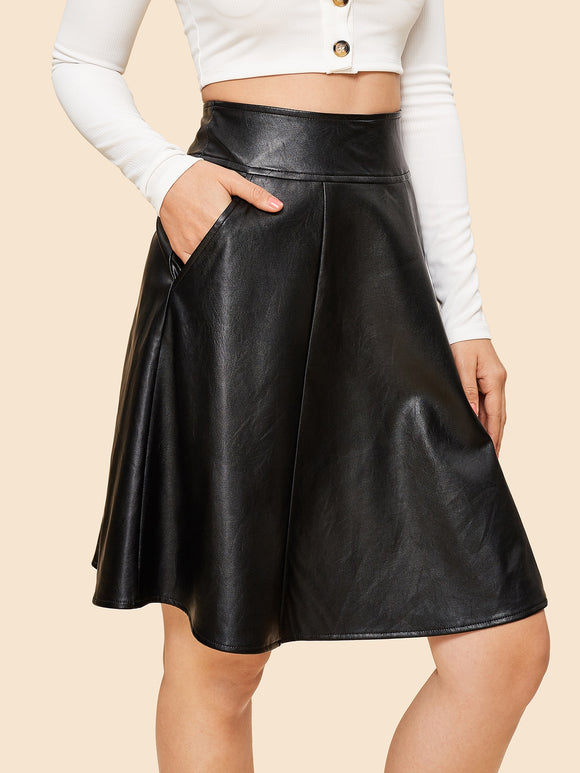 70s Pocket Side PU Skirt - Truly Yours, Fashion