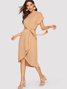 Rolled Cuff Overlap Batwing Dress