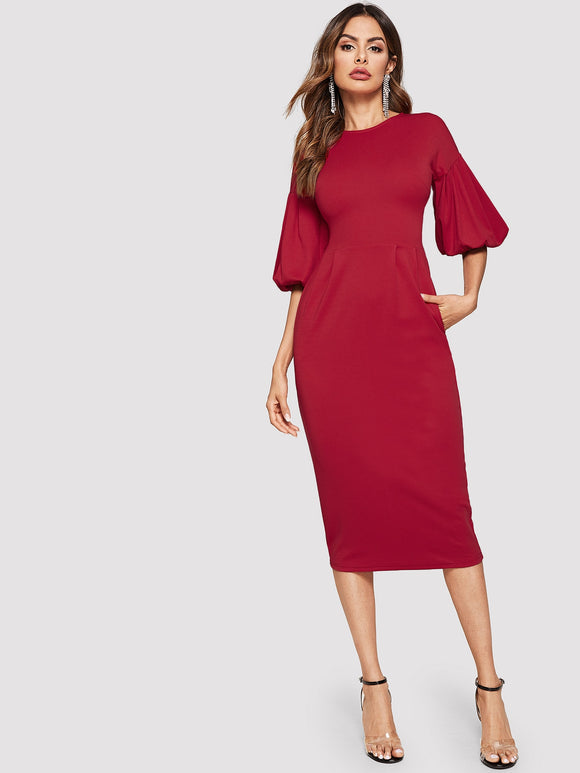 Zip Back Bishop Sleeve Dress