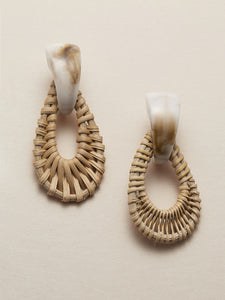 Marble Detail Woven Straw Teardrop Dangle Earrings - Truly Yours, Fashion