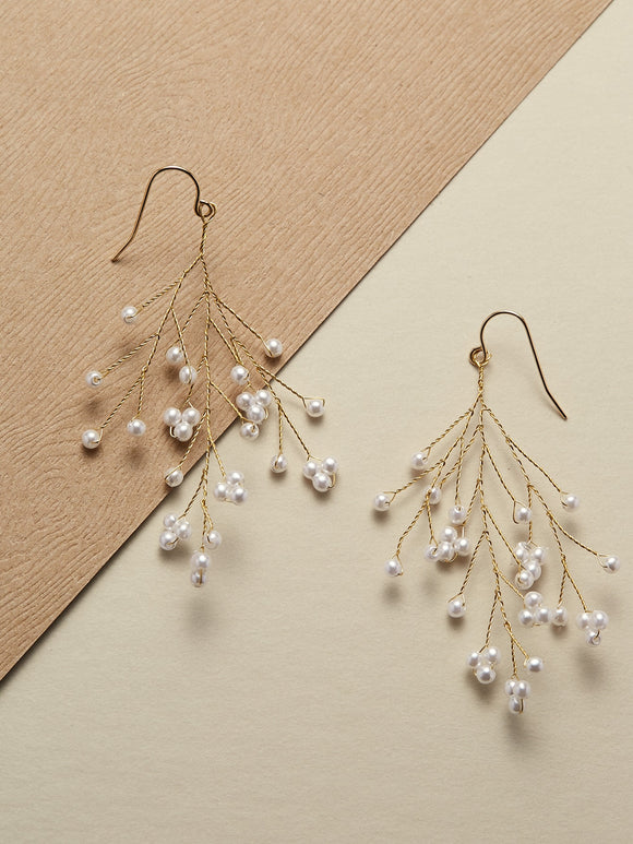 Twisted Branch With Pearl Accents Dangle Earrings