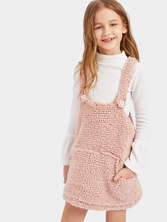 Pocket Front Teddy Pinafore Dress