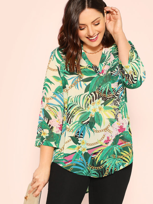 Plus Tropical & Chain Dip Hem Tunic Top