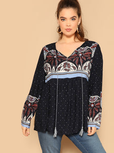Plus Tassel Detail Tie Neck Tribal Print Top