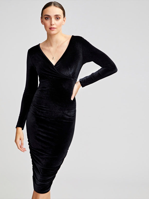 Solid Wrap Front Ruched Side Bodycon Velvet Dress
