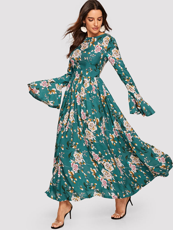 Trumpet Sleeve Floral Fit & Flare Dress