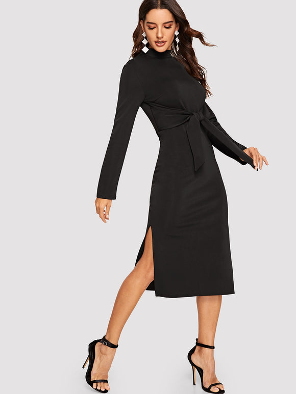 Mock-neck Knot Front Split Pencil Dress