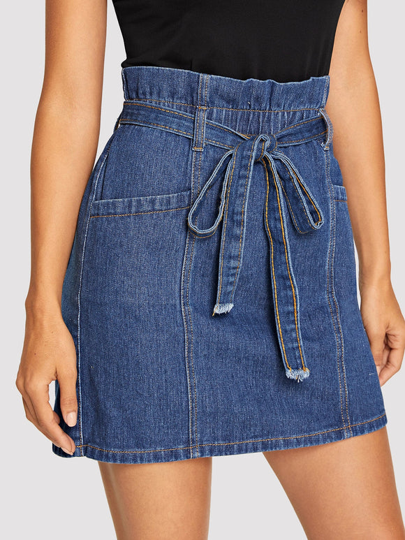 Paperbag Waist Denim Skirt With Belt