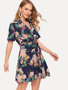 Floral Print Belted Wrap Dress - Truly Yours, Fashion