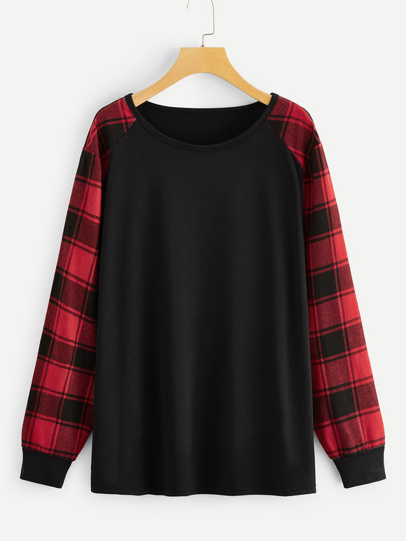 Plus Contrast Plaid Raglan Sleeve Tee