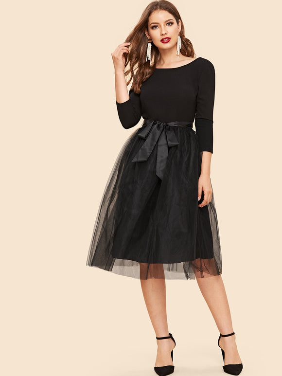 Bow Tie Waist Mesh Overlay Dress - Truly Yours, Fashion