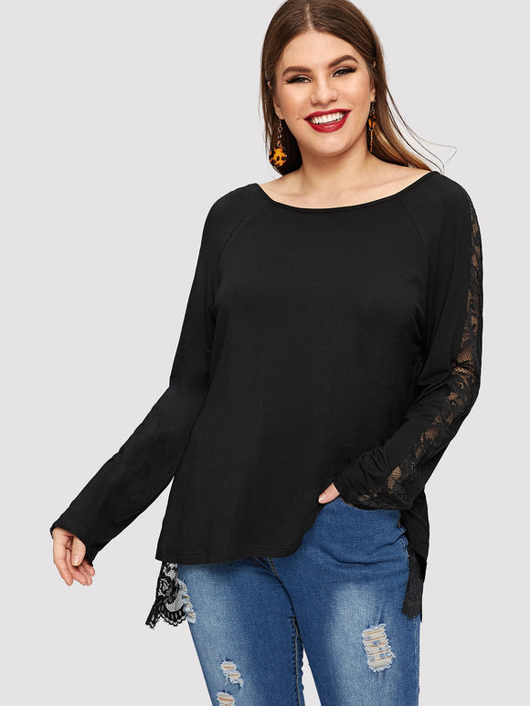 Plus Floral Lace Insert Dip Hem Top