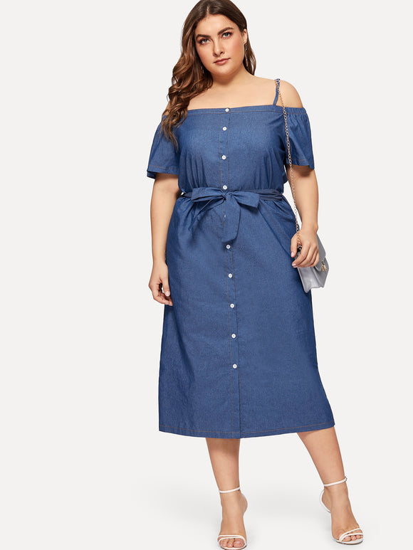 Plus Off The Shoulder Self-tie Denim Dress