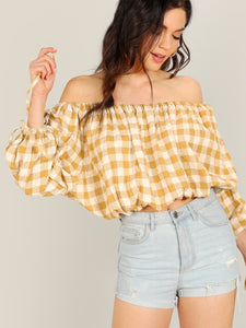 Off Shoulder Plaid Boho Tie Sleeve Top - Truly Yours, Fashion