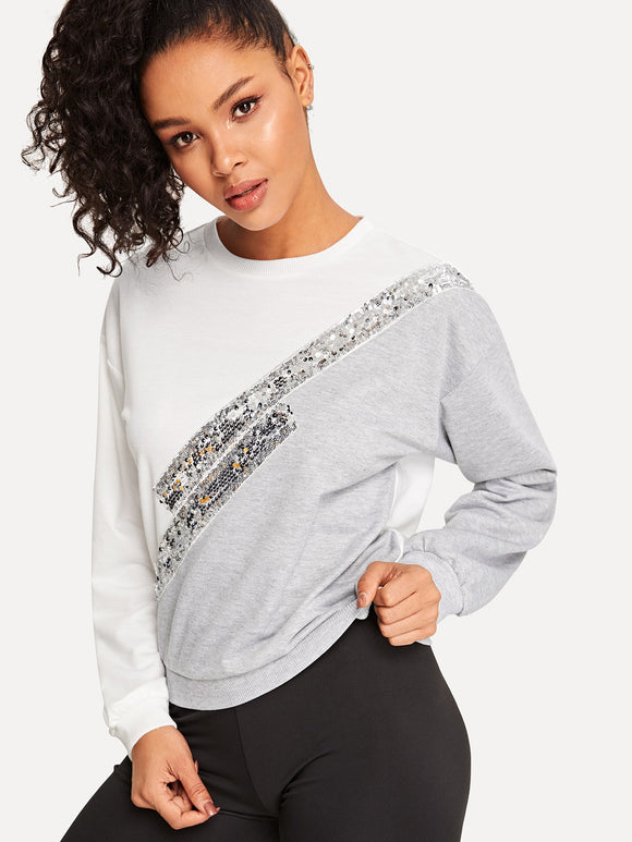 Two Tone Contrast Sequin Pullover