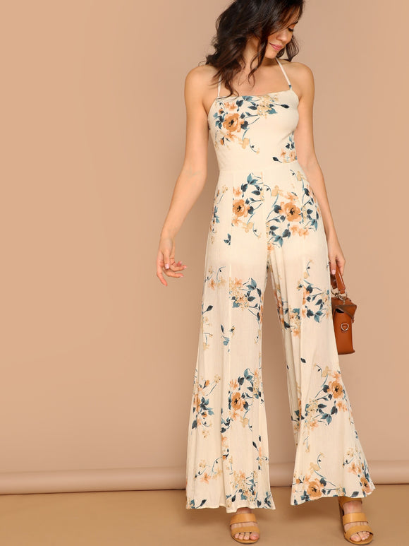 Neck Floral Print Wide Leg Jumpsuit