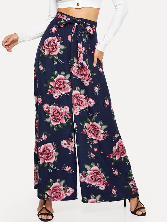 Allover Floral Belted Culotte Pants