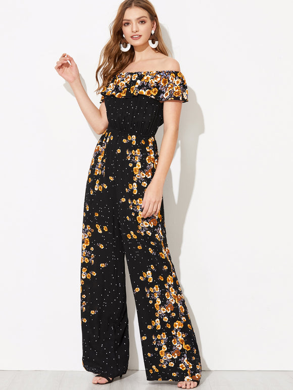 Flounce Foldover Wide Leg Floral Bardot Jumpsuit - Truly Yours, Fashion