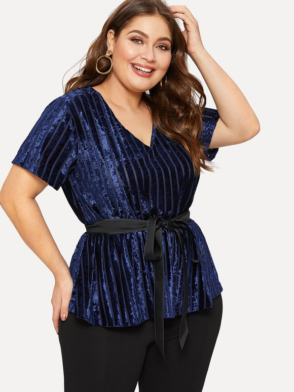Plus Self-tie V-neck Velvet Blouse