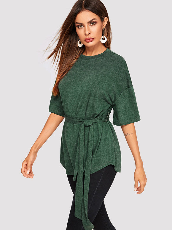 Drop Shoulder Self Belted Curved Hem Tee - Truly Yours, Fashion