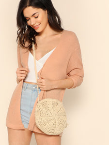 Open Front Rolled Sleeve Lightweight Knit Cardigan