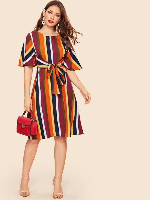 70s Waist Knot Colorful Stripe Dress - Truly Yours, Fashion