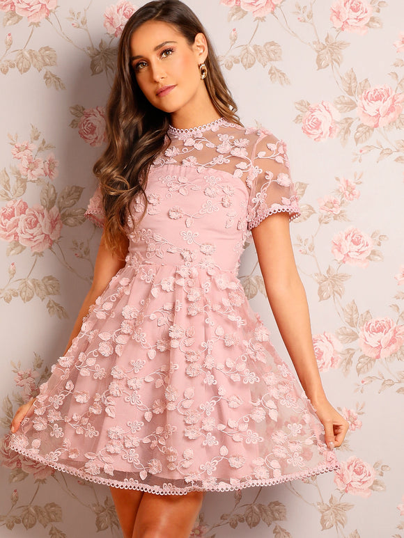 Floral Appliques Embroidered Organza Skater Dress - Truly Yours, Fashion