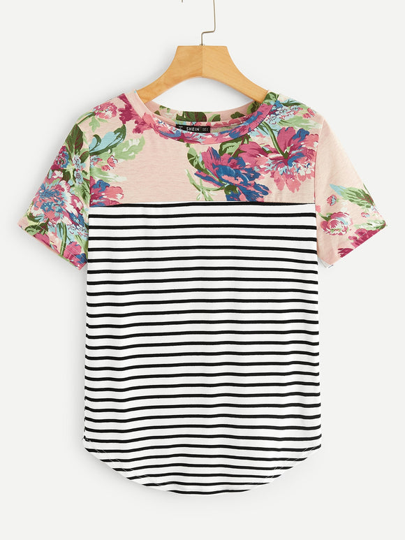 Dolphin Hem Floral & Striped Tee - Truly Yours, Fashion