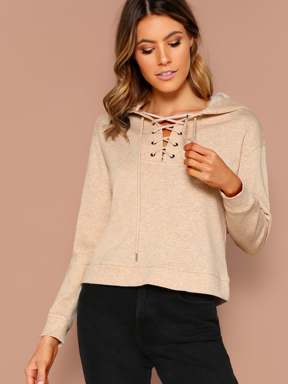 Lace Up Front Heathered Fleece Pullover Hoodie - Truly Yours, Fashion