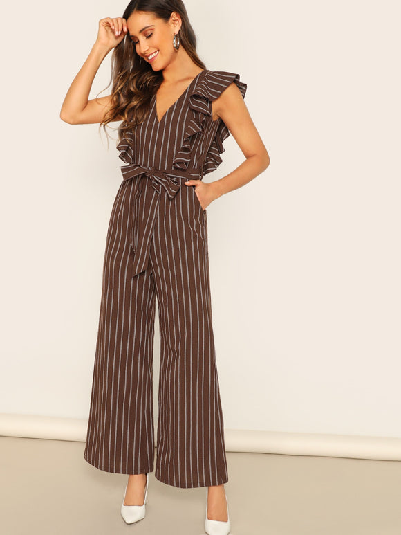 Ruffle Armhole Striped Belted Wide Leg Jumpsuit