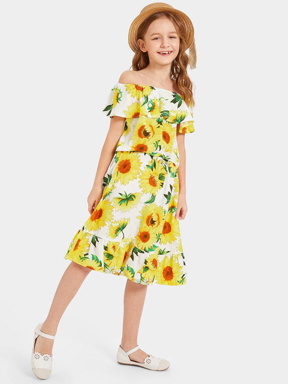 Flounce Layered Neck Sunflower Print Top & Skirt Set - Truly Yours, Fashion
