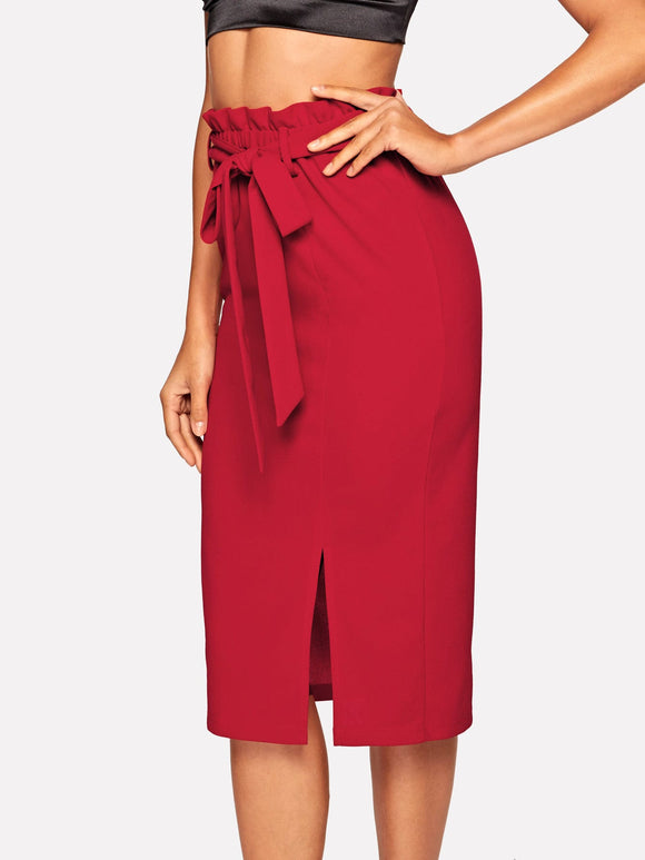 Paperbag Waist Belted Split Pencil Skirt