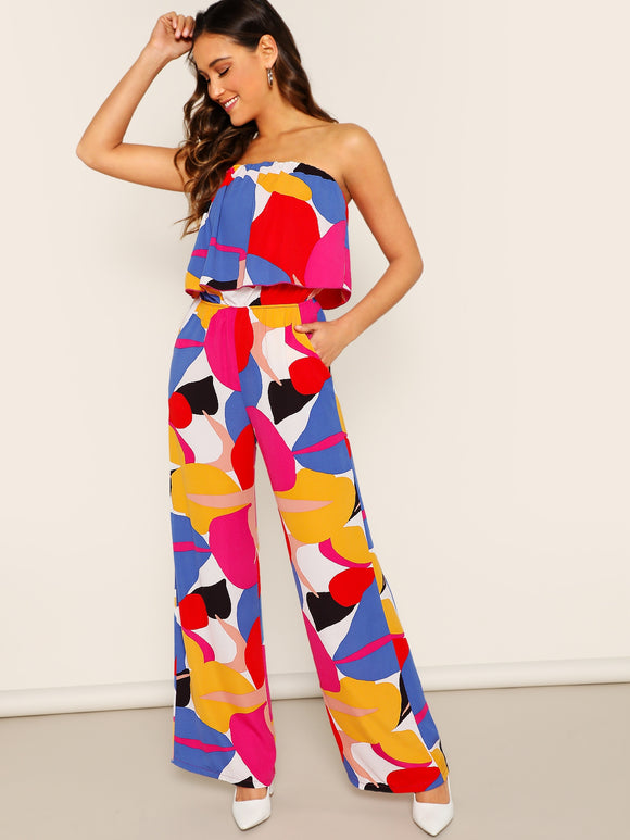 Strapless Abstract Print Wide Leg Jumpsuit