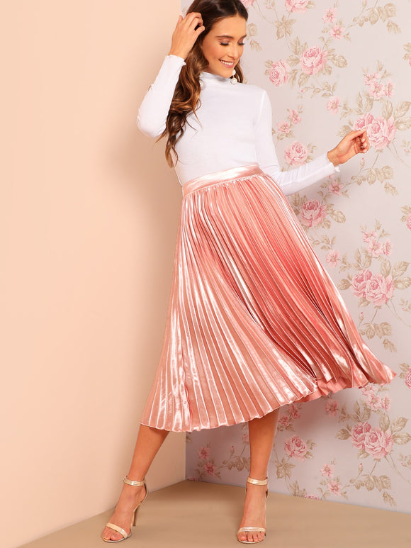 Elastic Waist Solid Pleated Skirt - Truly Yours, Fashion