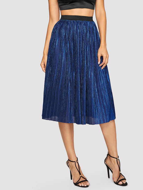 Contrast Waistband Pleated Skirt - Truly Yours, Fashion