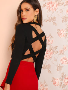 Criss Cross Backless Solid Tee - Truly Yours, Fashion