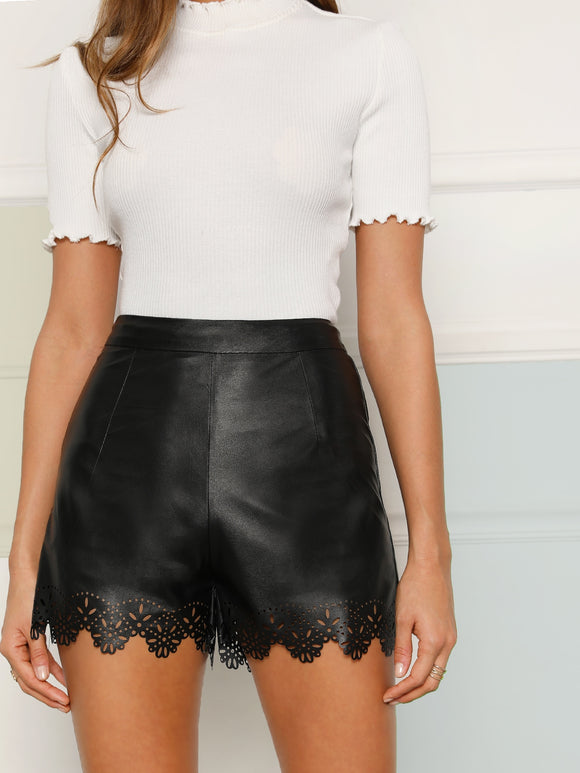 Scallop Edge Laser Cut Leather Look Shorts